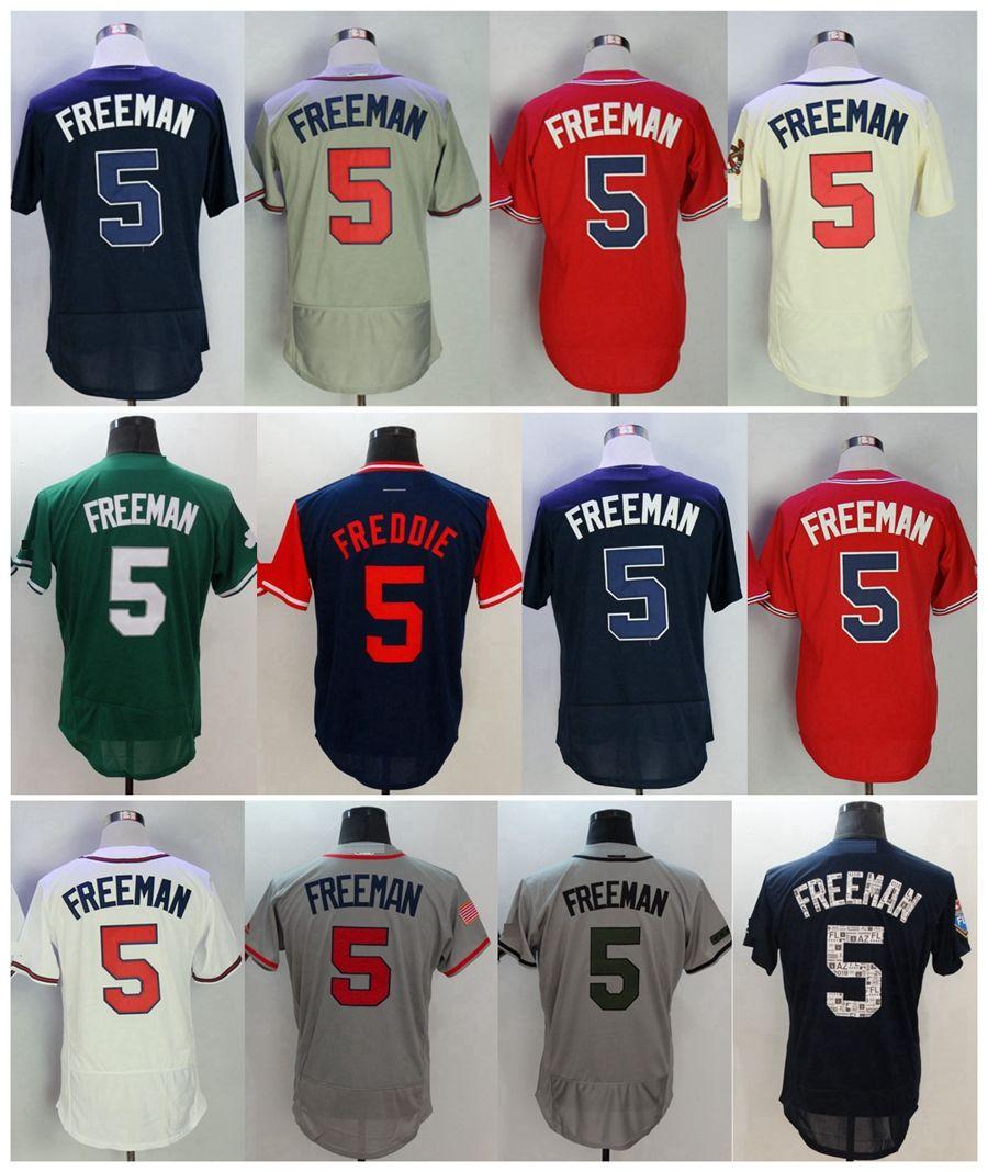 various colors 39b47 34108 ... greece 2018 2018 atlanta freddie freeman flex base baseball jerseys  memorial day spring training 5 freddie