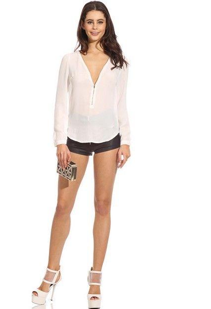 2018 Мода Осень V Шея с длинным рукавом Застежка-молния Сексуальная шифоновая блузка Женская рабочая одежда Blusas Femininas Tops 6 Цвет