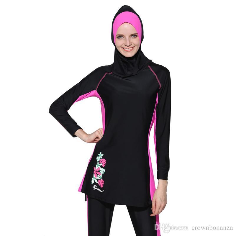 Costumi da bagno donna musulmani a maniche lunghe costume intero islamico hijab nuoto costumi da bagno abbigliamento sportivo Burkinis