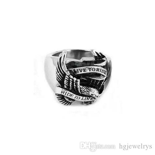 ! Live To Ride Eagle Ring Motorcycles Biker Ring Stainless Jewelry Steel Motor Ring SWR0005H