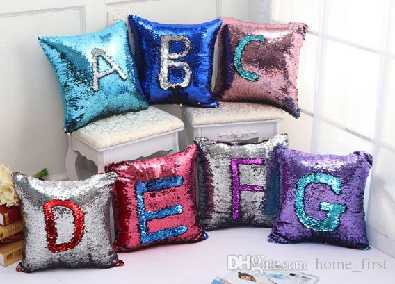 Creative personnalisé impression couleur paillettes oreiller sirène housse de coussin deux couleurs changeantes taie d'oreiller canapé voiture de noël décor