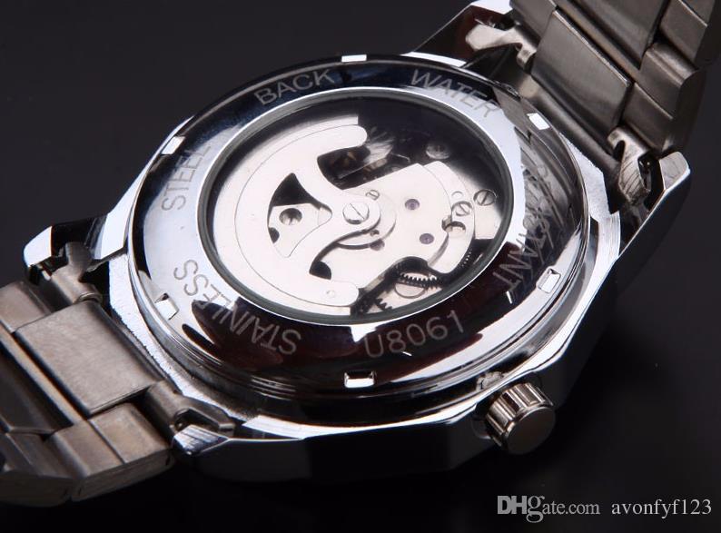 Vencedor Da Marca de Moda de Nova Relógio De Ouro de Aço Homens Elegantes Relógio Mecânico Clássico Auto Vento Vestido de Pulso Esqueleto Assista Presente A527