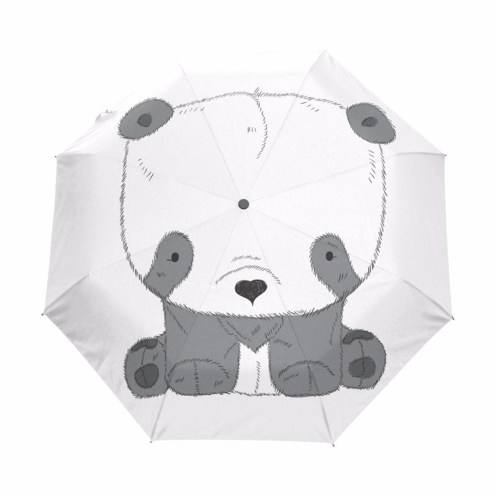 2019 cute pencil sketch panda printed automatic umbrella a gift for girlfriend windproof women umbrella three folding rain paraguas from tim2012