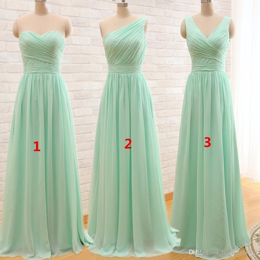 30891c49732fe 2018 Mint Green Bridesmaid Dresses A Line Chiffon Long Floor Length One  Shoulder Pleats Maid Of Honor Weddings Party Gowns For Bridesmaids  Discounted ...