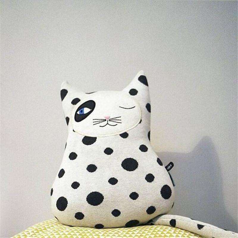 Nordischen Stil Crazy Cat Knitting Kissen Kissen Kinderzimmer Dekoration  Kind Cottage Kissen Home Handwerk Ornamente 31x30cm