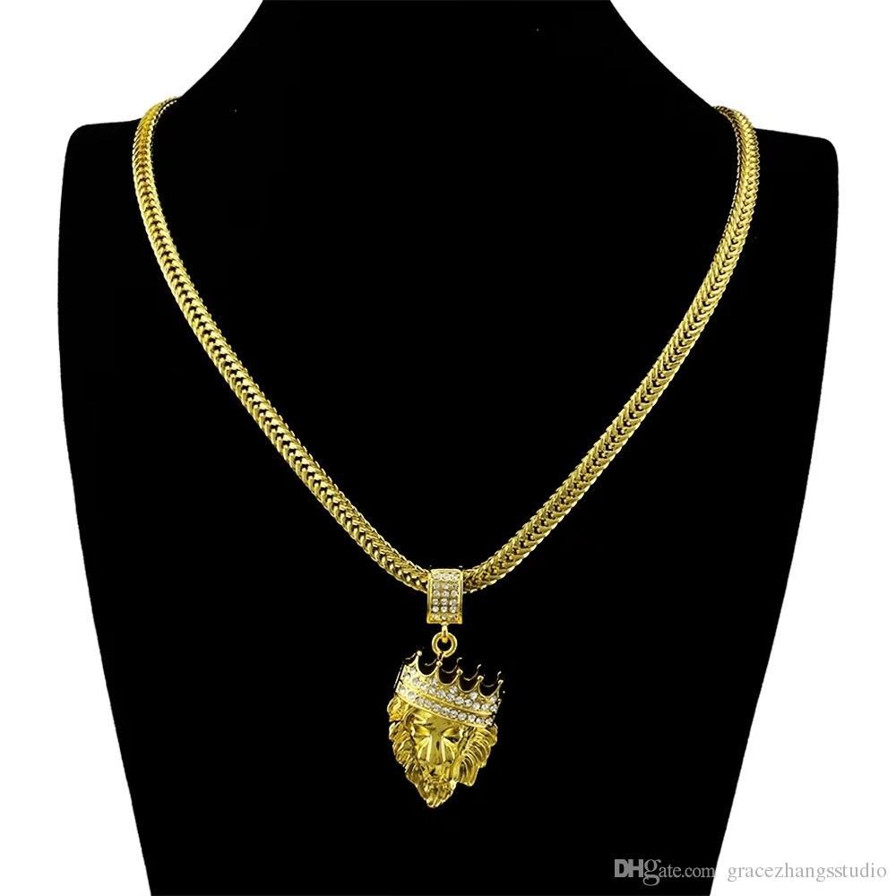 Compre Hip Hop Pingente De Colar De Ouro Coroa De Leão Cabeça Pingentes  Colares De Cadeia Homens Diamantes 18 K Real Banhado A Ouro Jóias De ... 9f45708efe