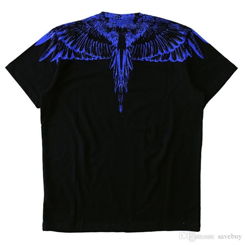 Haute Qualité 2018 Marcelo Burlon T Shirt Italie Comté De Milan Plume Aile Hommes MB T-Shirts Mode Casual Femmes D'été Style Tee