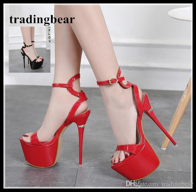d9ae860c8db 16cm red black ankle strappy ultra platform high heels women summmer  sandals wedding shoes size 34 to 40
