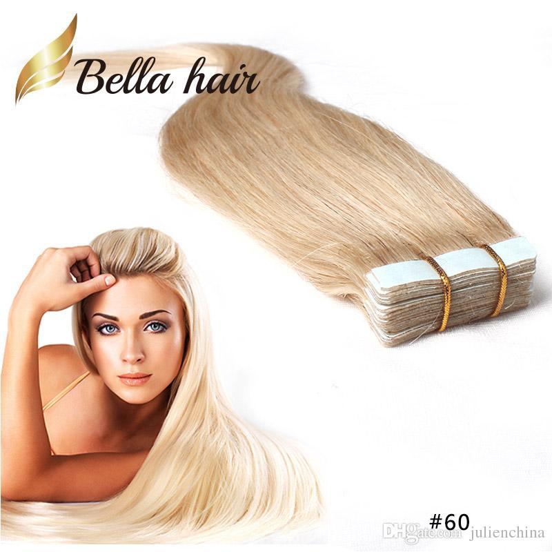 Pu الجلد لحفظة الشريط في ملحقات الشعر 14 ~ 24 بوصة 100٪ البرازيلي الشعر البشري تمديد 2.5 جرام / قطعة 40 قطعة / المجموعة julienchina bellahair شحن مجاني