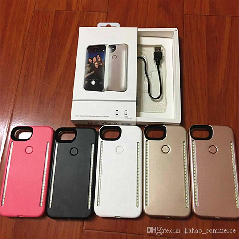 Newest LED Light phone Cases Phone Double Sides Light Battery Case For iphone 7 6 6s plus Note 7 With Retail Package