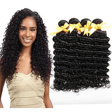 Pure Color Deep Wave Brazilian Virgin Hair Bundles 100% Human Hair Extensions /100g 6A Unprocessed Double Weft