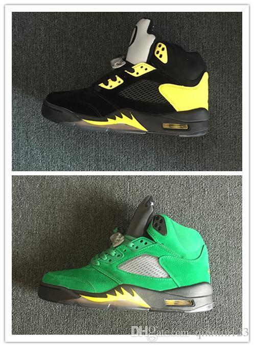 size 40 9b9d3 36e17 Wholesale New 5 Oregon Green Black Yellow Men Basketball Shoes Sports  Sneakers Trainers Outdoor Athletic Fashion High Quality Size 8 13 Cheap  Sneakers ...