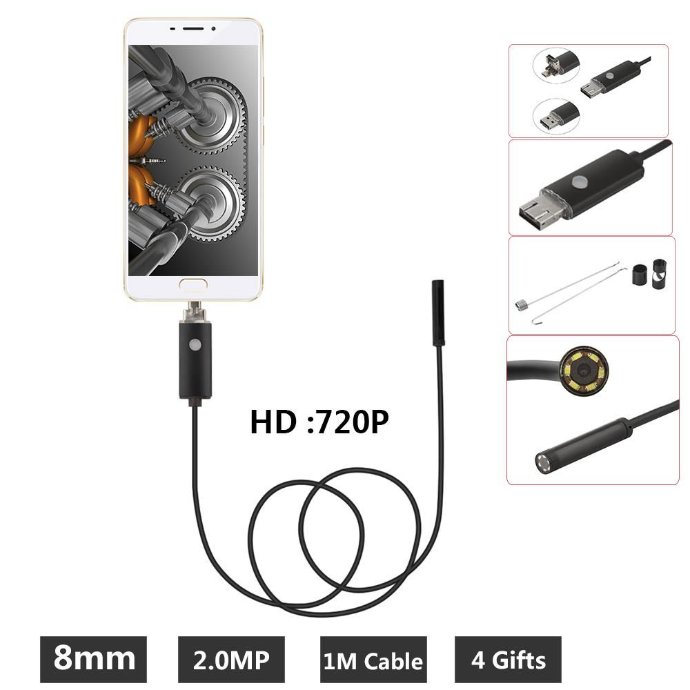8mm Borescope 2MP USB Endoscope 1M Probe Waterproof Inspection Borescope 6 LEDs USB Wire Snake Tube Camera OTG Compatible