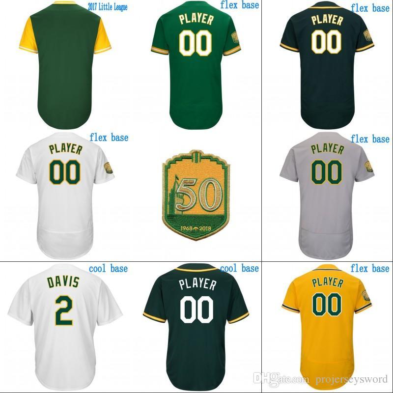 cheap for discount 3ca29 6a3bb #2 Khris Davis Jersey Mens Oakland 50th Anniversary 21 Jonathan Lucroy 23  Matt Joyce 55 Sean Manaea 44 Chris Hatcher Baseball Jerseys