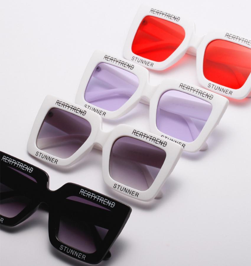afa8d2d5591f4 Compre Oversized Retangular Óculos De Sol Retro Grande Quadrado Redondo  Rosto Letras Impresso Preto Maré Personalidade Feminina Óculos De Sol  GGA135 De ...