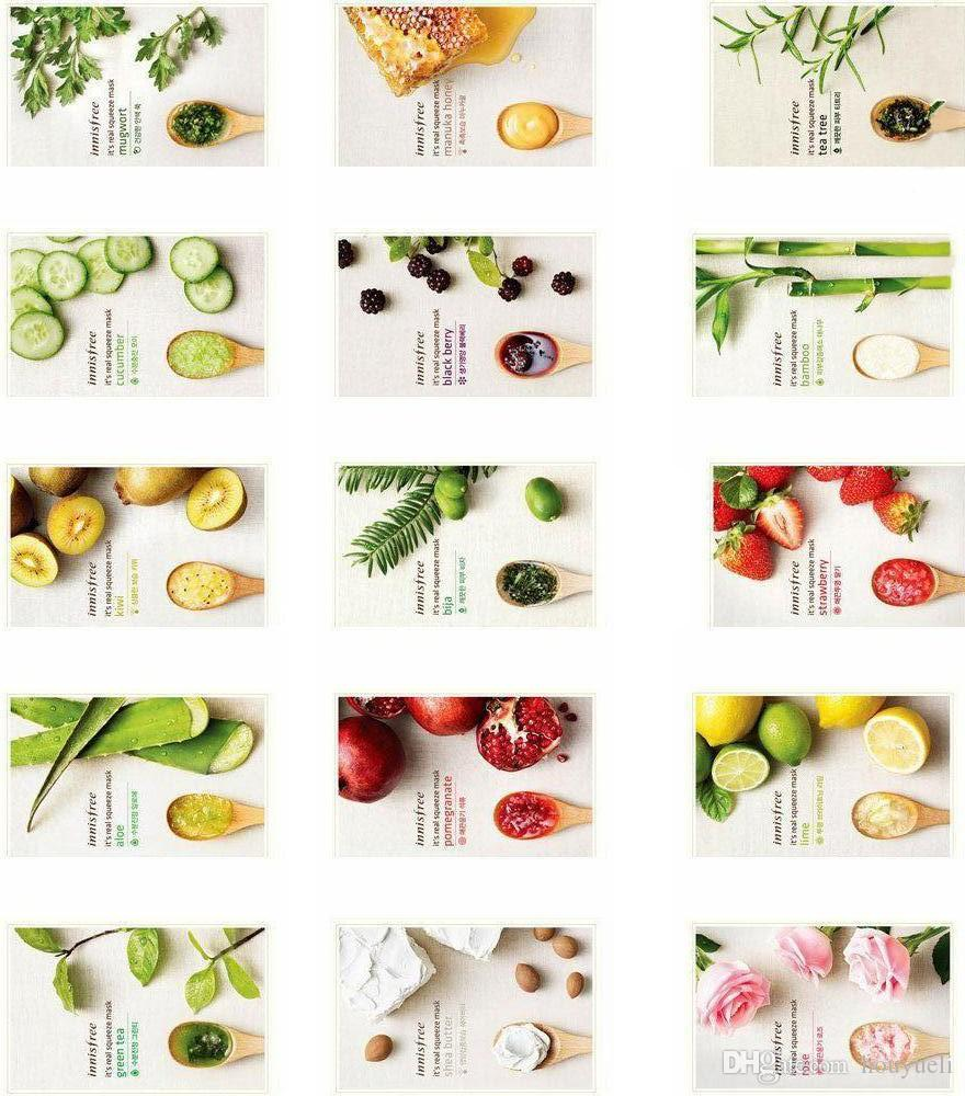 15 Kinds Innisfree Squeeze Mask Sheet Moisturising Face Skin Real Lime Treatment Oil Control Facial Peels Care Pilate Via Fedex Dhl Purifying Whitening