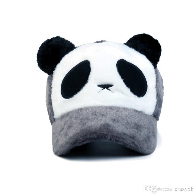 2018 New fashion Plush Man e Weman Winter Keep caldo berretto da baseball panda cartone animato Outdoor passeggiate cappelli cappello all'ingrosso