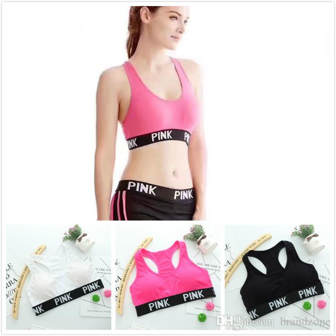 b97e6fd9ca253 2019 High Quality Simple Monochrome Letter Edge Rimless Yoga Running Bra  Jacket Vest Chest Pad Elastic Bra Removable Convenient From Brandzone