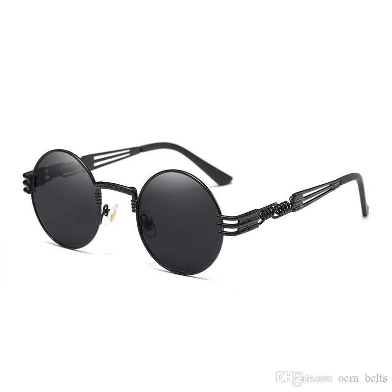 dc6251602 Compre Luxo Rodada Óculos De Sol Steampunk Homens Mulheres Moda Óculos Com  Armação De Metal Marca Designer Retro Vintage Óculos De Sol Uv400 Óculos  Barato ...