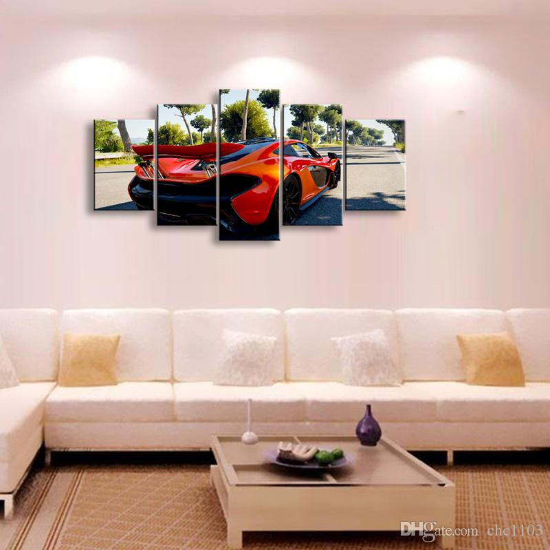 high-definition print sports car canvas oil painting poster and wall art living room picture C5-14