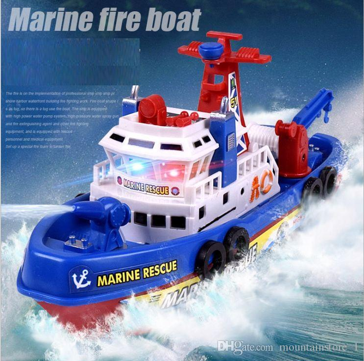 New Electric Boat Children Marine Rescue Toys Boat Fire Boat Children Electric Toy Navigation Non-remote Warship Gift High Speed