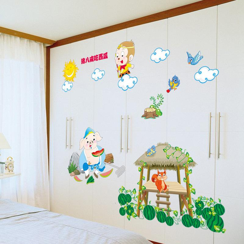 Sf 080 Ab Pig Eight Quit To Eat Watermelon Children\'S Bedroom Mural ...