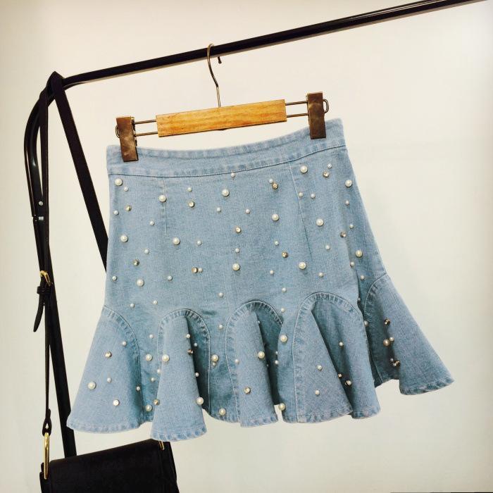 c133ad0df1 Compre Mulheres Uma Linha De Cintura Alta Saias Jeans 2018 Moda Plissado  Verão Casual Jeans Saia Das Mulheres Pérola Bead Mini Saia De Maoku
