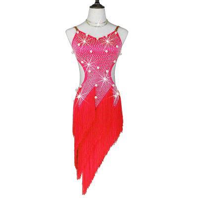 DHL transporte rápido da menina de alta qualidade superior qualidade tassel latina vestido de dança com pedra vestido de competição de dança de dança vestido social para adultos