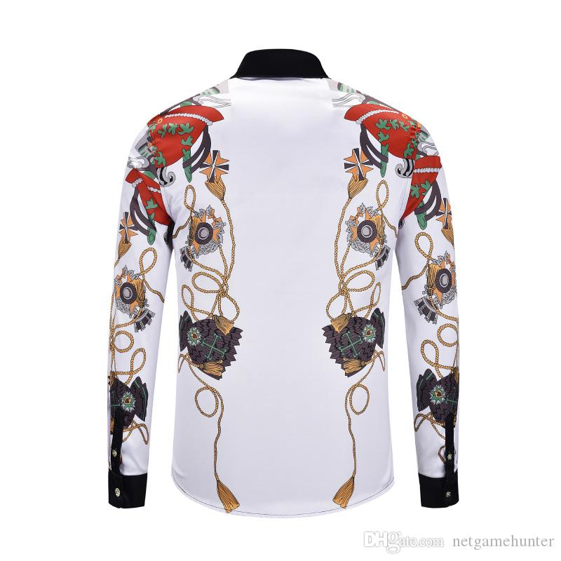 2591fae67147 The Nice hand-panled set Famous Brand design clothes men galaxy golden  dragon flower print long sleeve 3d shirt Baroque printing Medusa men