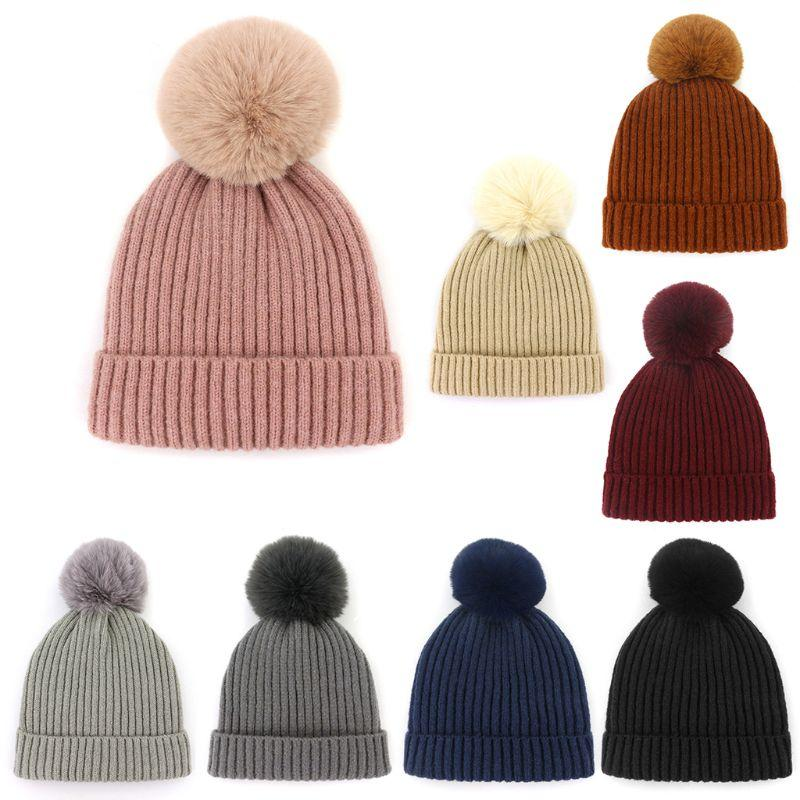 a442d0406e4 Women Children Winter Thicken Rib Knitted Cuffed Hat Parent Child Faux  Rabbit Fur Removable Pompom Ball Beanie Cap Solid Color Stocking Cap Baby  Sun Hat ...