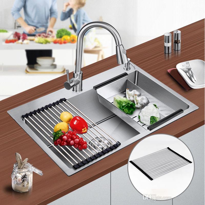 304 stainless steel kitchen drain water roll kitchen sink accessories  adjustable round shape drain water bar 2 size choice