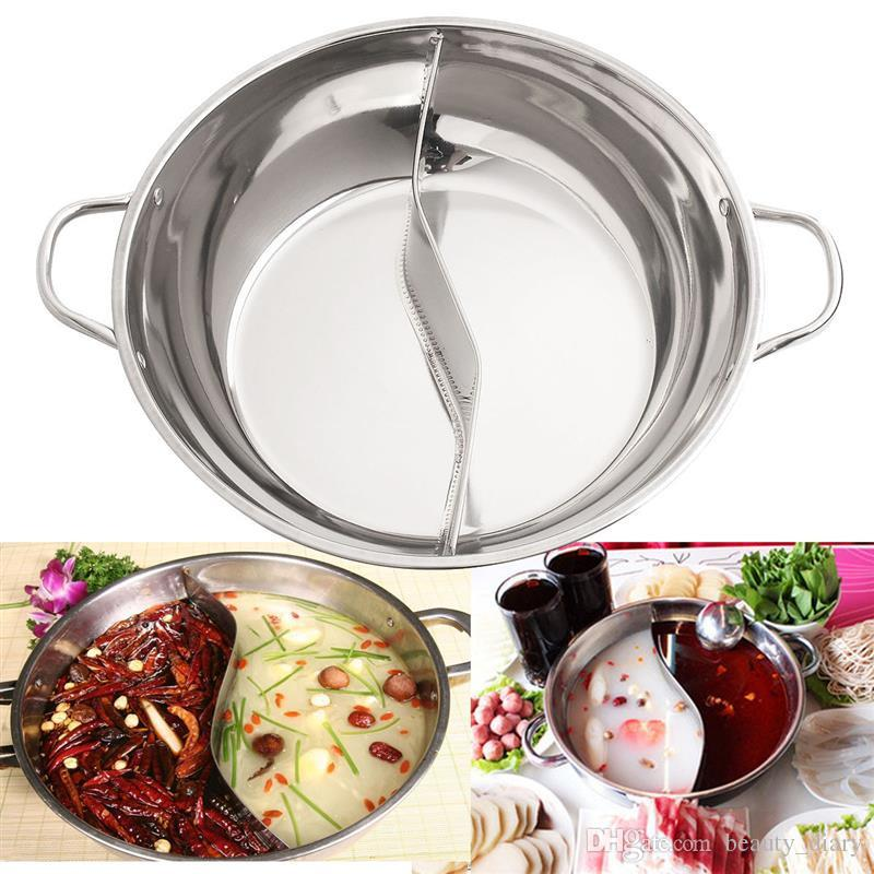 30cm olla caliente de acero inoxidable Shabu Shabu estufa de gas de inducción doble sitio Compatible olla de cocina en casa olla de cocina