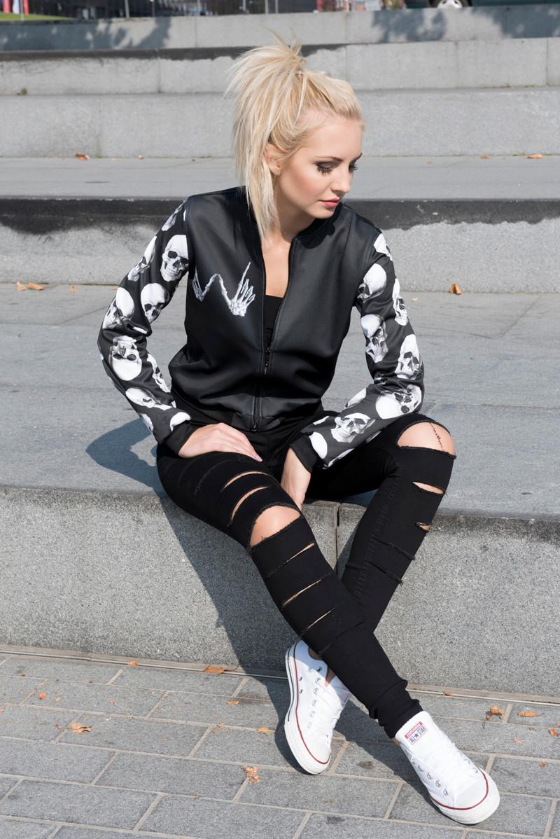 Zohra New arrival Moda Mulheres Bomber Jacket O Que Quer Que o Crânio 3D Impresso Outwear Casacos Universidade Básica Casacos