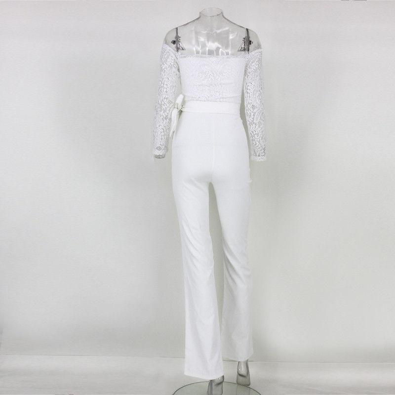 2017 Женщины кружева с длинным рукавом весна осень JumpsuitRomper Clubwear плеча Bodycon партии костюм для подвижных игр Bodysuits + брюки