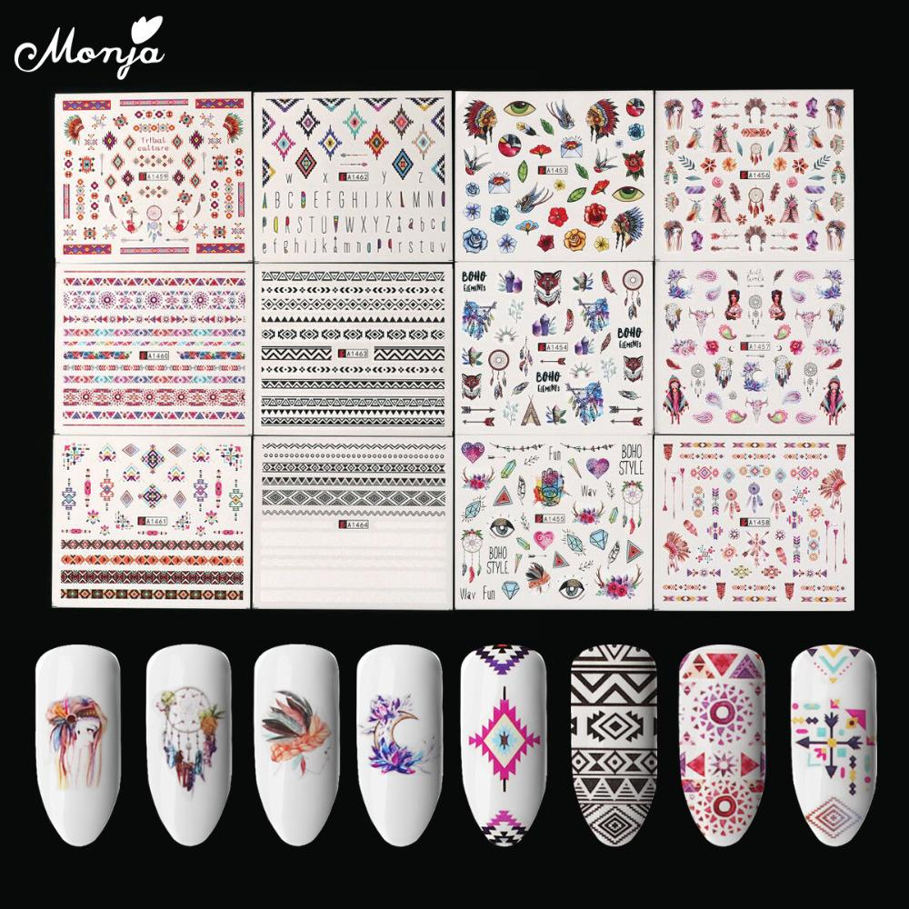 Cheap stickers decals monja 12 sheets nail art ethnic series mixed design water transfer full cover decals stickers 3d nail decoration nail tattoo