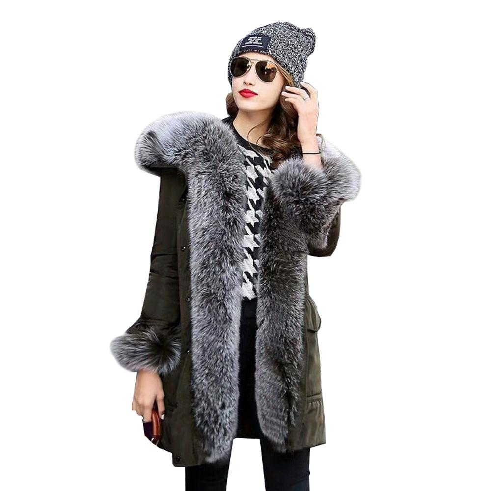 41279593faaf 2019 Large Fox Fur Trimmed Coat Women Clothing Down Coat Fox Fur Hooded  Parka Medium Long Warm Jackets Duck Down Parkas Thick Coats From Kfashions