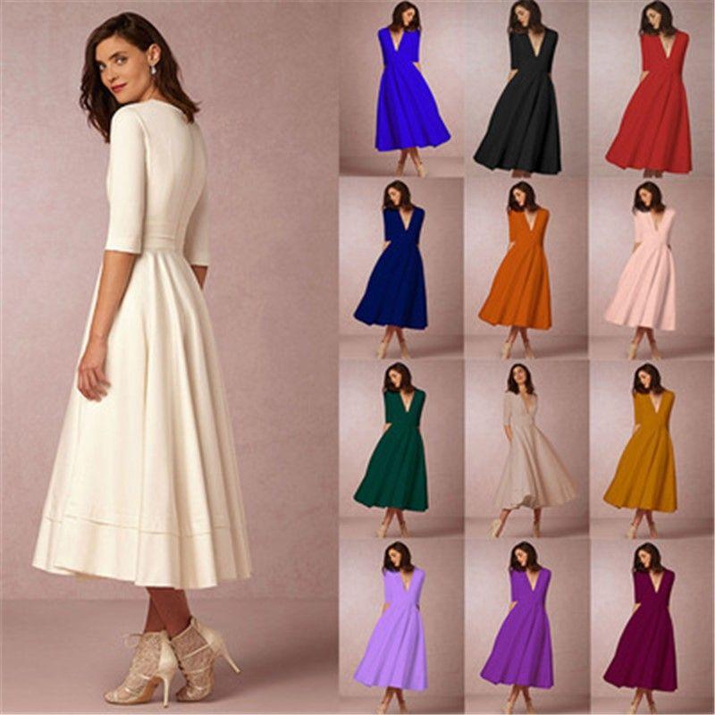 Winter Women Dress Vestidos European Spring Maxi Elegant Dress Deep V Half  Sleeve Long Dress Elegant Ladies Party Dresses 3SA341 Evening Gown Floral  Dress ... 09573e31d73d