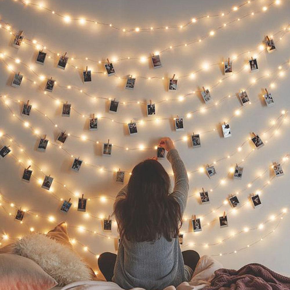 1 5m 2m 3m Photo Clip Holder Led String Lights Christmas Bedroom