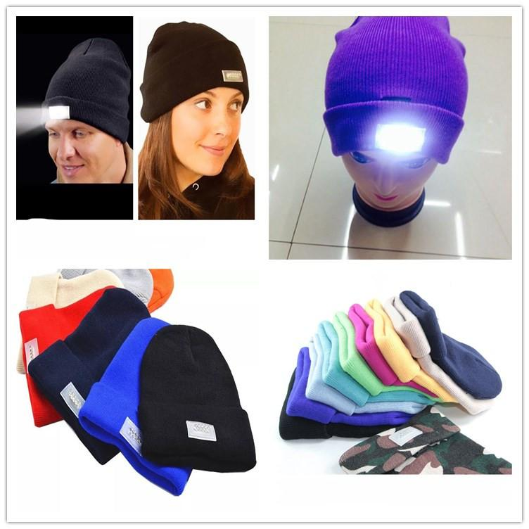 01c37538566 2019 Knit Adult LED Beanies Light Up Women Men Skull Caps Winter Knitting  Night Hat Travel Sports Hiking Climbing Hunting Fishing Crochet Hat Hot From  ...