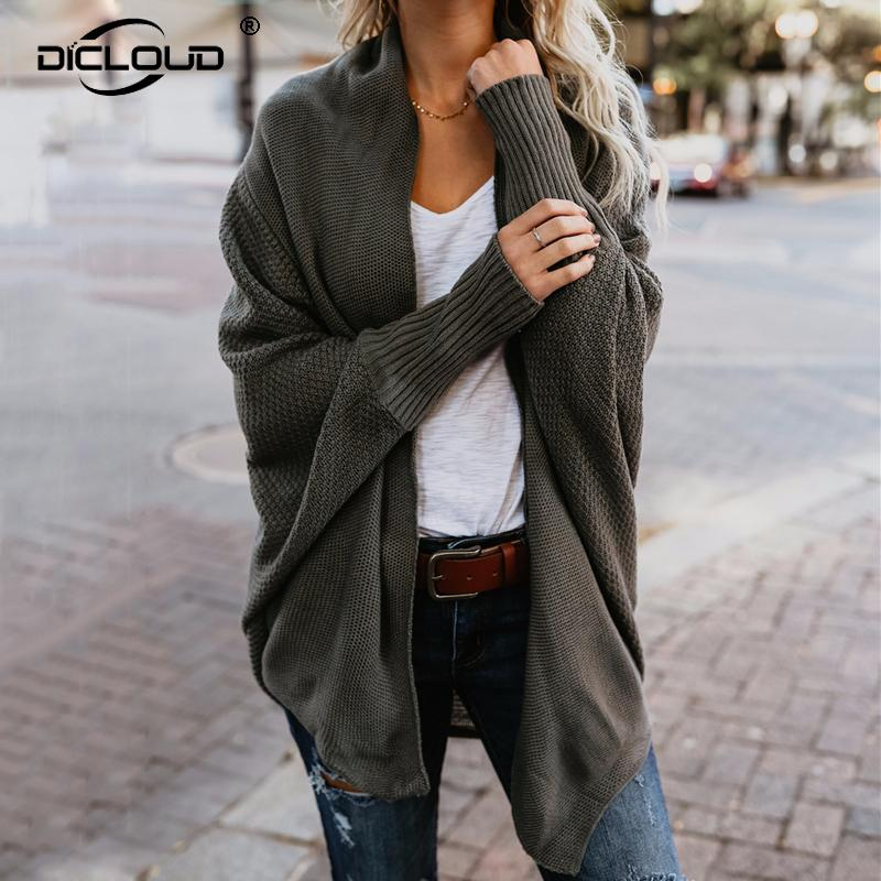 144c613854 2019 Oversized Women 2018 Autumn Winter Knitted Cardigans Sweaters Batwing  Sleeve Long Cardigan Coat Female Casual Loose Warm Sweater From Seein