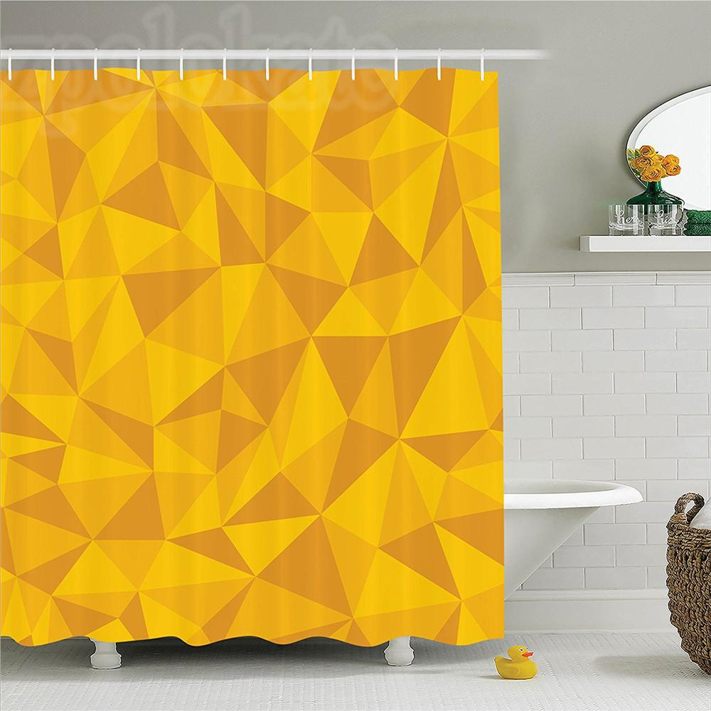 2018 Yellow Decor Shower Curtain Set Abstract Triangular Cubic ...