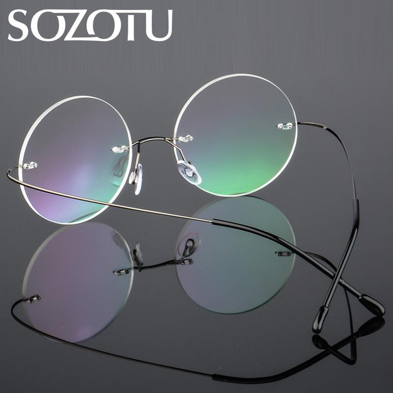 63250d5010 2019 SOZOTU Spectacle Frame Women Men Computer Optical Glasses Round Rimless  Ultra Light For Male Female Clear Lens Eyeglasses YQ227 From Naixing