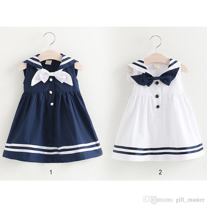 7e530b9f6b Compre Vestido Marinero Azul Marino Para Niñas Sin Mangas Vestido De  Princesa Blanco Y Azul Marino Uniformes Escolares Con Bowknot A A  9.33 Del  Gift master ...