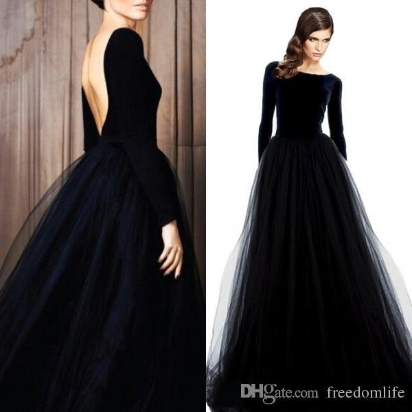 Stunning Black Long Sleeve Velvet Evening Dresses Bateau Neck Open