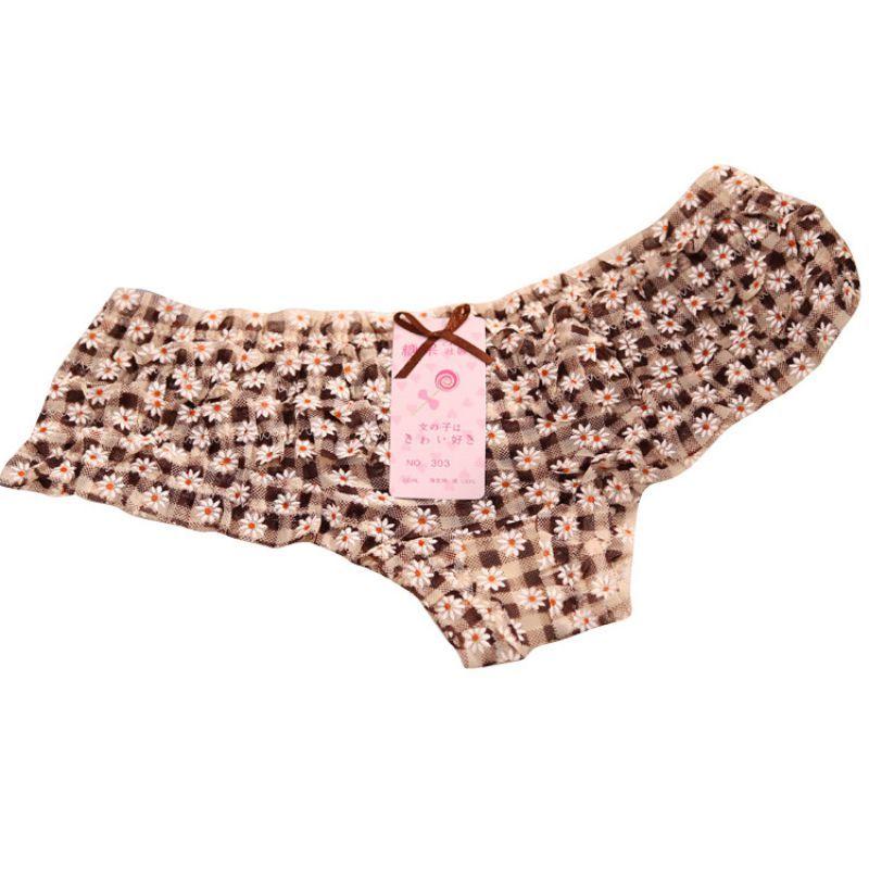 Lovely Girl Sexy Dot women panties Female Underwear Women Lace Ruffles Women's Sheer Panties Butt Lifter Briefs