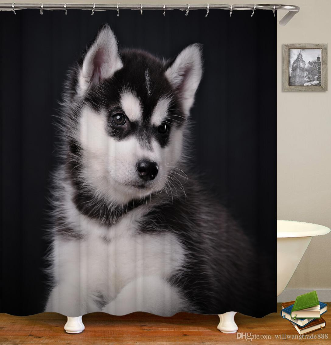 Waterproof Cute Pretty Pet Army Dogs And Cats Digital Printing Bathroom Shower Window Curtain With Hooks 71x71inch