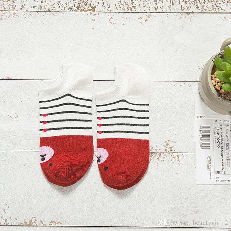 Women Socks Warm Comfortable Casual Cotton Girl Ankle Socks Durable Shallow Mouth Invisible Striped Female Sock Hosiery
