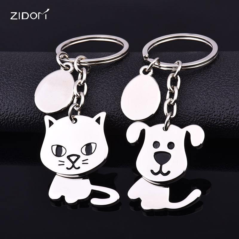 360 degree shake head activity cat and dog keychain high quality creative  moving keyring fashion key chains key holder jewelry