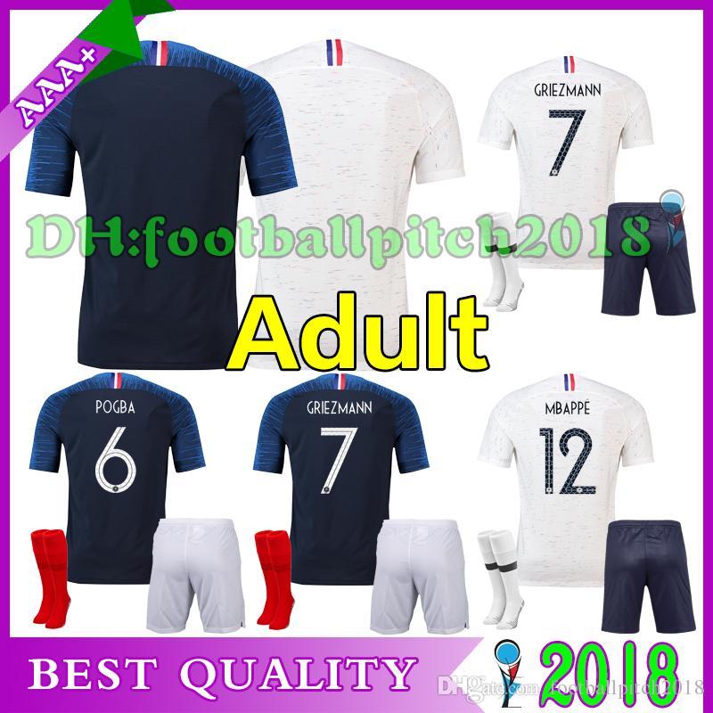 2018 Pogba Soccer Jersey World Cup Home Adult Kit PAYET DEMBELE MBAPPE  GRIEZMANN KANTE COMAN 18 19 National Team Men Away Football Shirts 2018  Pogba HOME ... 343e417b9