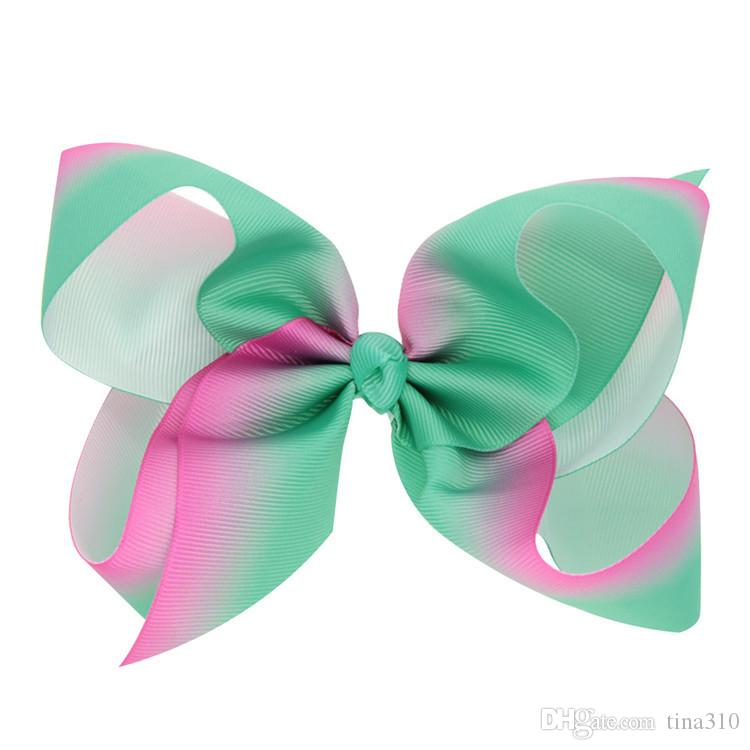 Hot sale fashion rainbow gradient color colorful bowknot clip children hairpin baby hair headdress decoration T3G0028